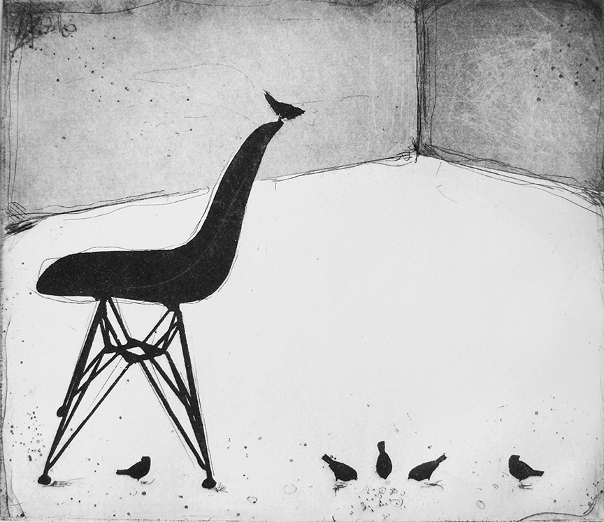 Eames and the Birds   etching   30 x 28cm  £125