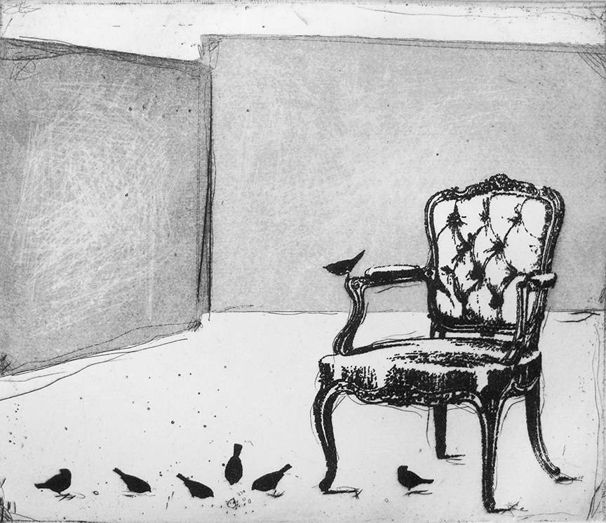 Louis IV and the Birds   etching   30 x 28cm  £125