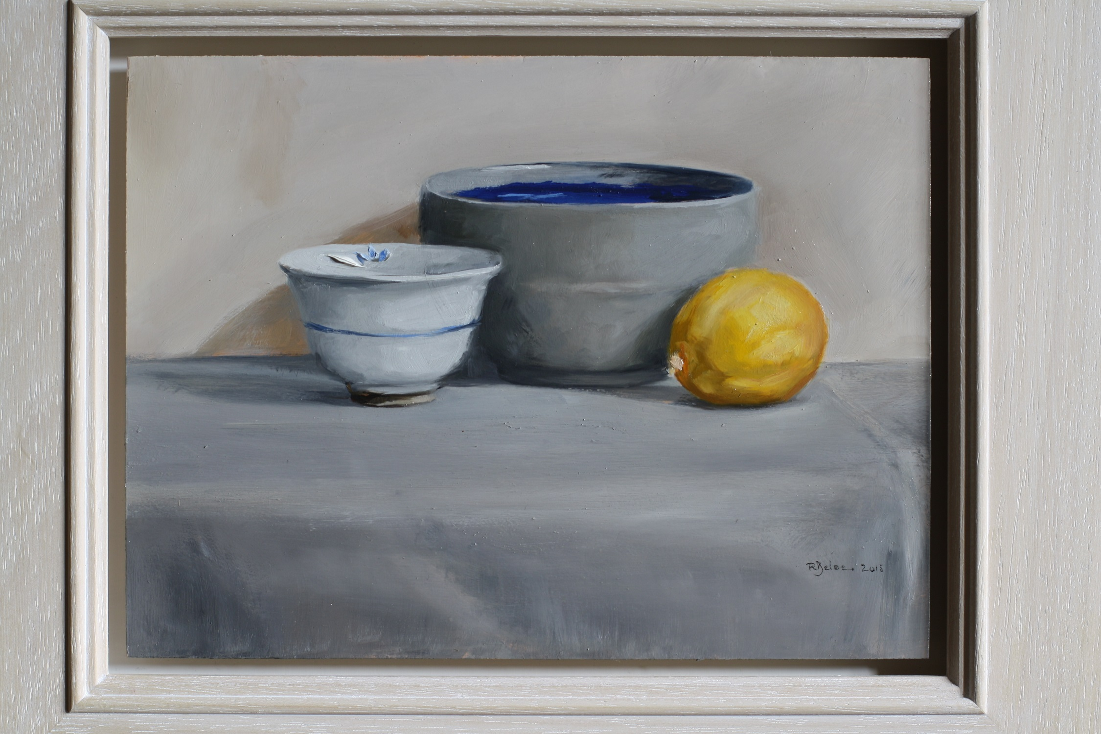 Two Bowls and a Lemon  oil on gesso panel  sold