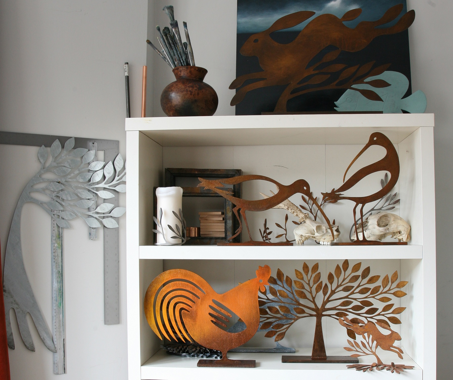 Steel trees, birds, hares and chicken
