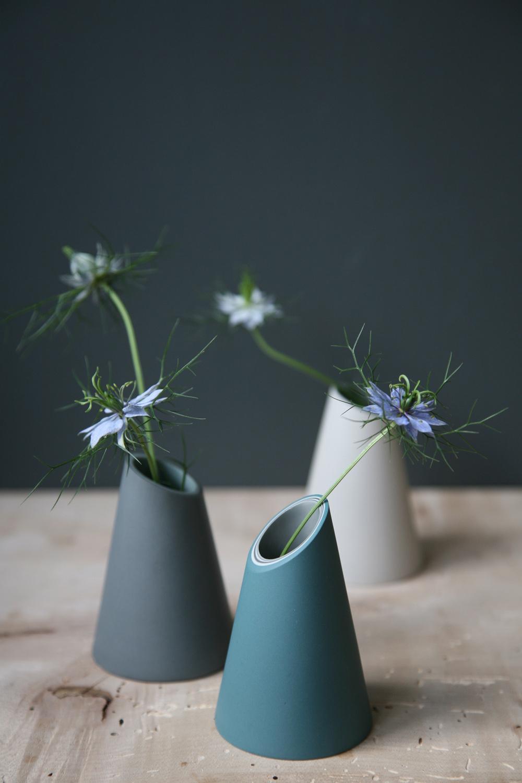Three Slash Cut Vases  ceramic