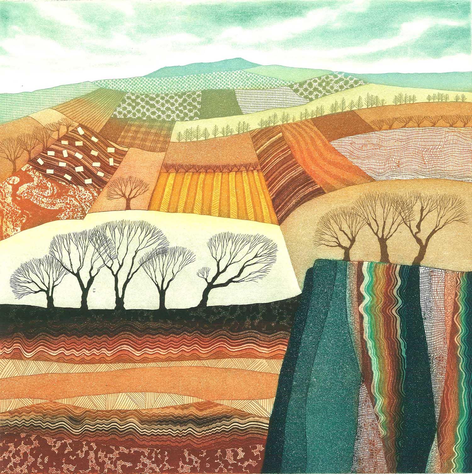 Rift Valley   etching   28 x 28 cm  £325 framed  .