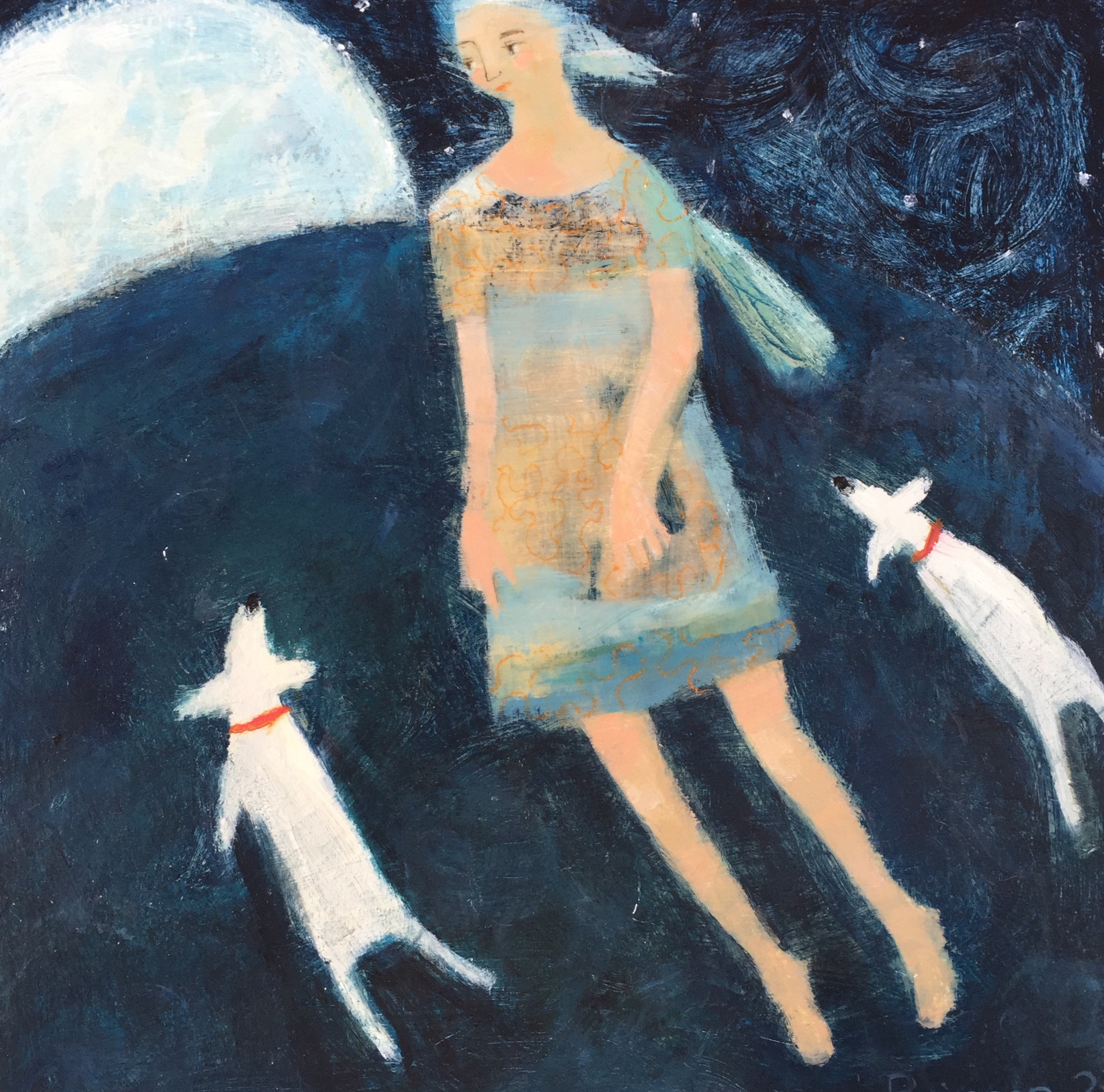 Blue Angel with Two Dogs   acrylic on board   SOLD