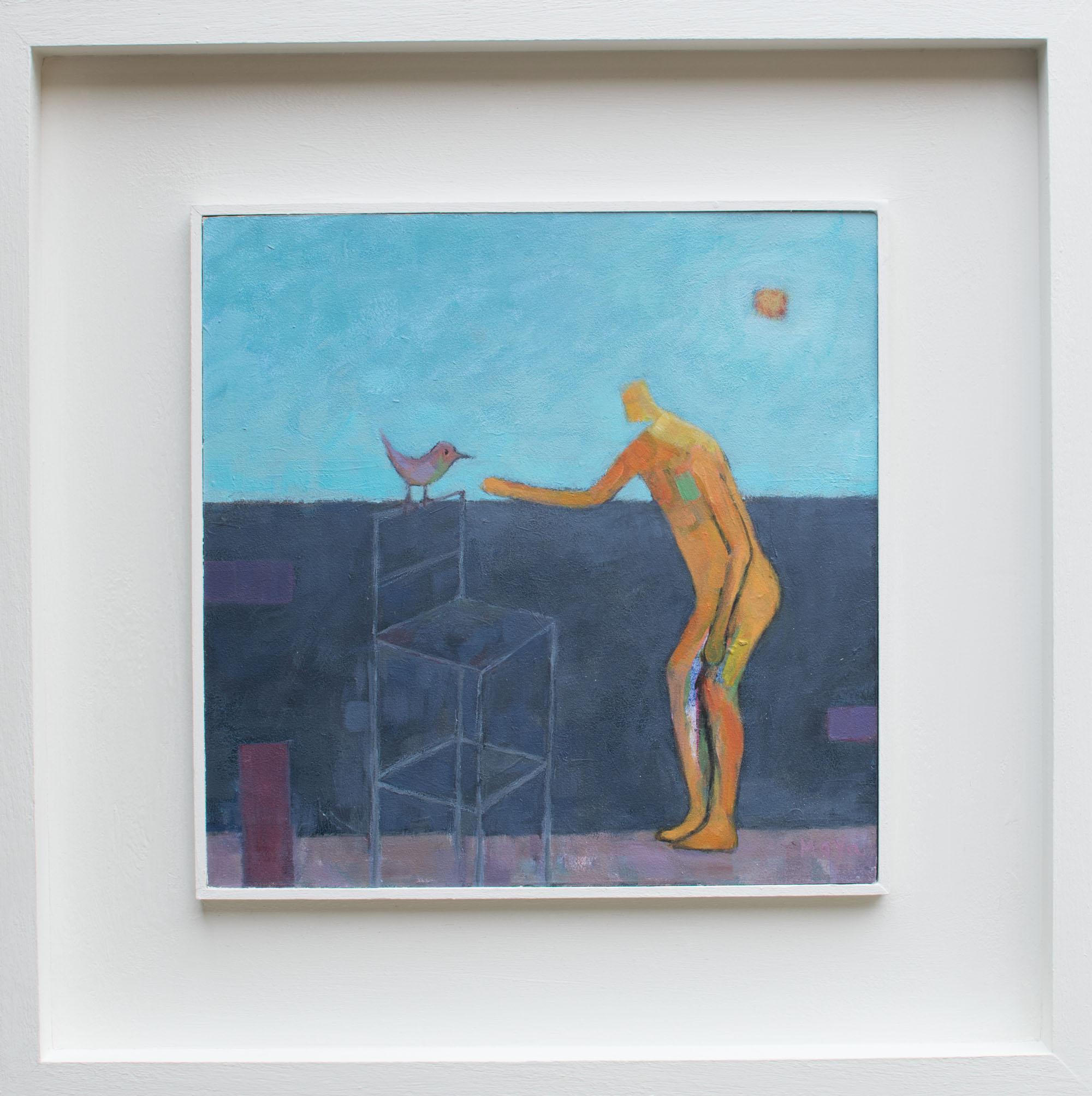 Man Meets Bird  acrylic on board  49 x 49 cm framed  SOLD