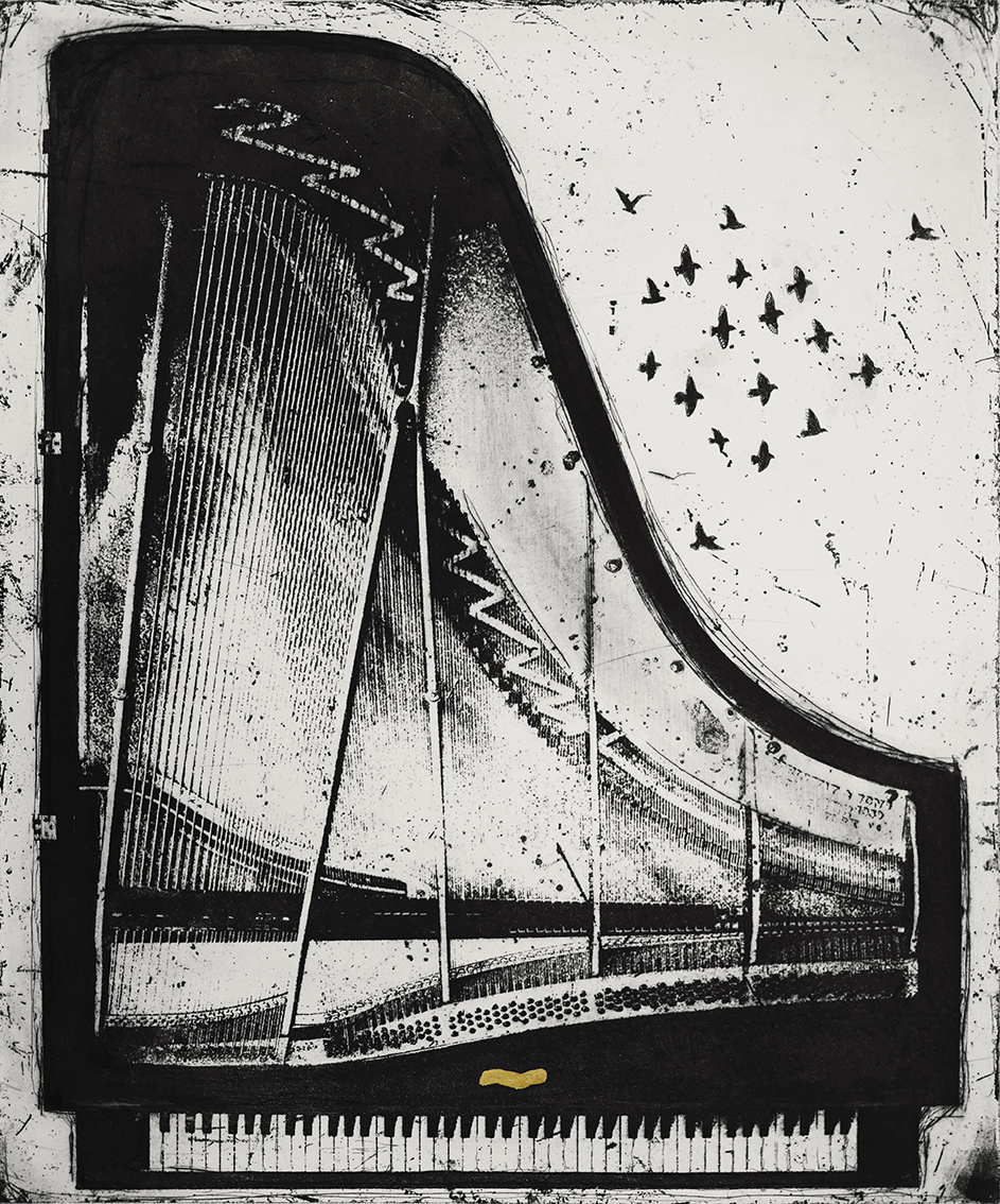 Echo From a Silent Piano   etching  with gold leaf  63 x 68cm  £400  (unframed)