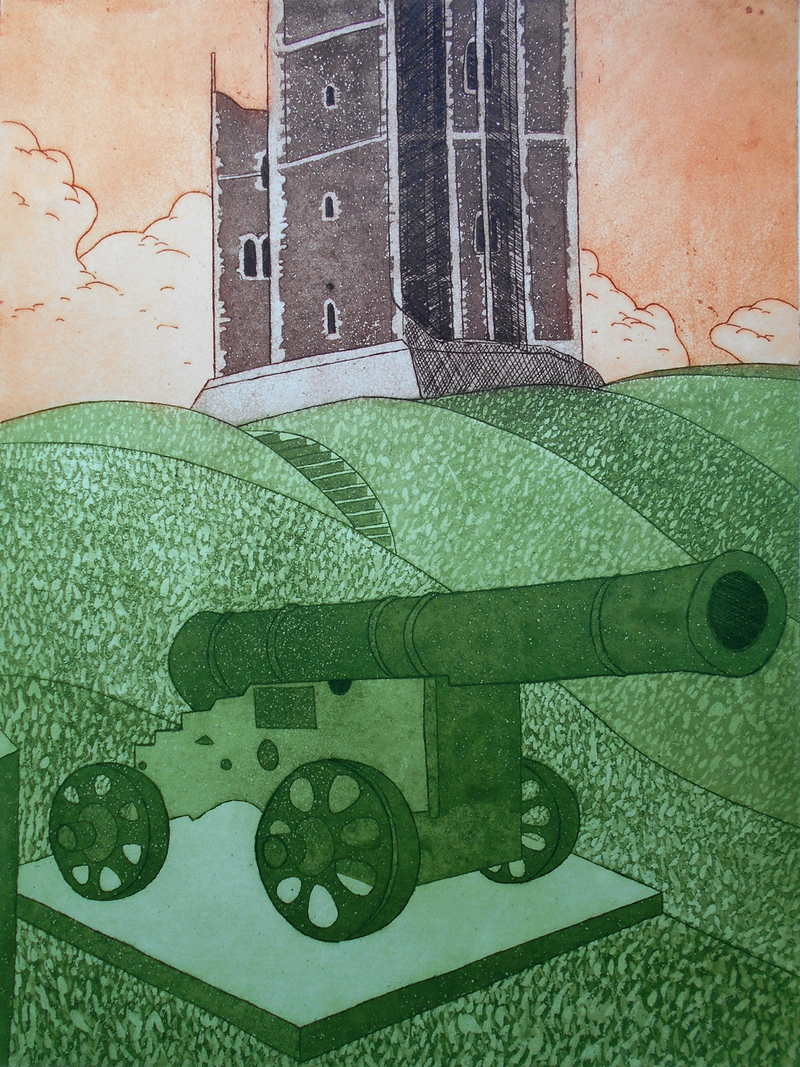 Castle and Cannon   etching   45 x 60.5 cm  £344