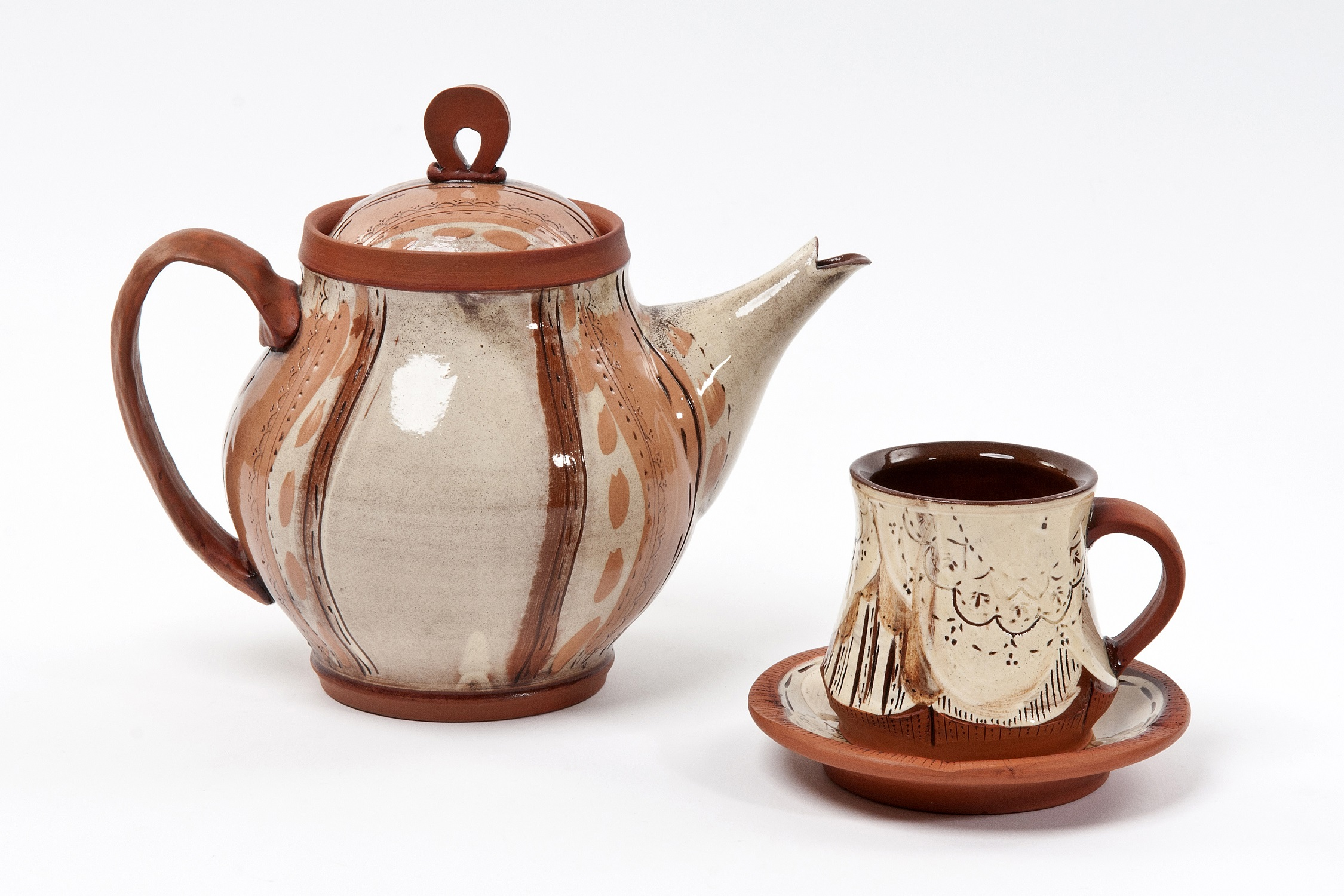 Teapot, Cup and Saucer  earthenware