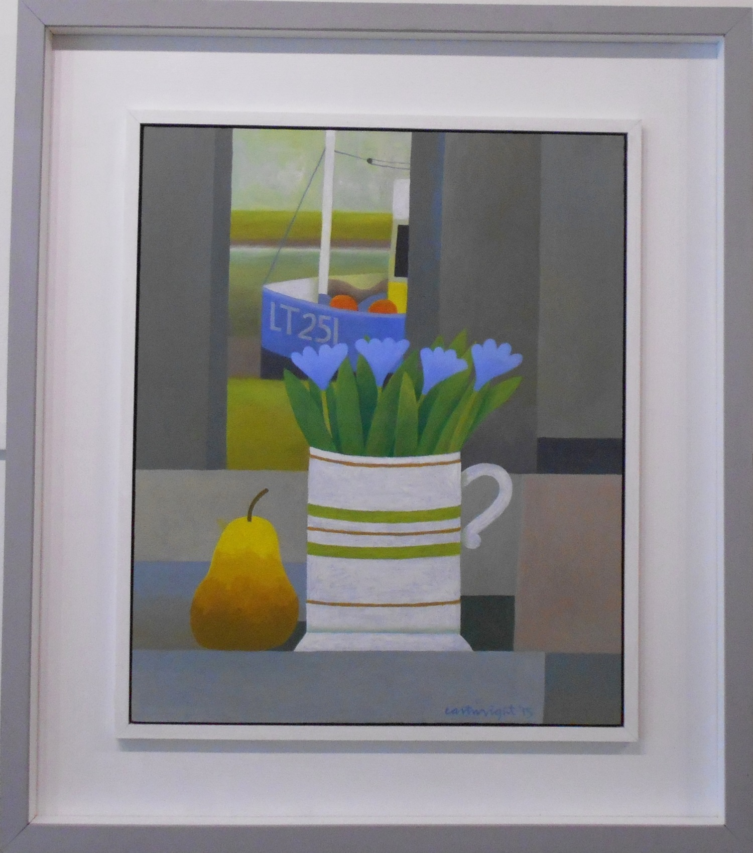 Estuary Still Life with Flowers and Pear  oil on board  35.5 x 43 cm  SOLD