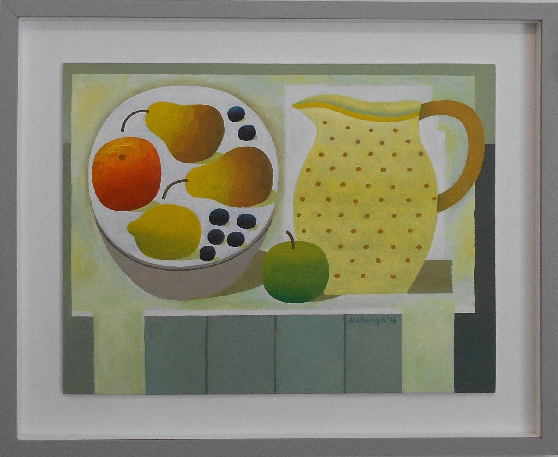 Still Life with Fruit and Spotted Jug  oil on board  52 x 39.5 cm  SOLD