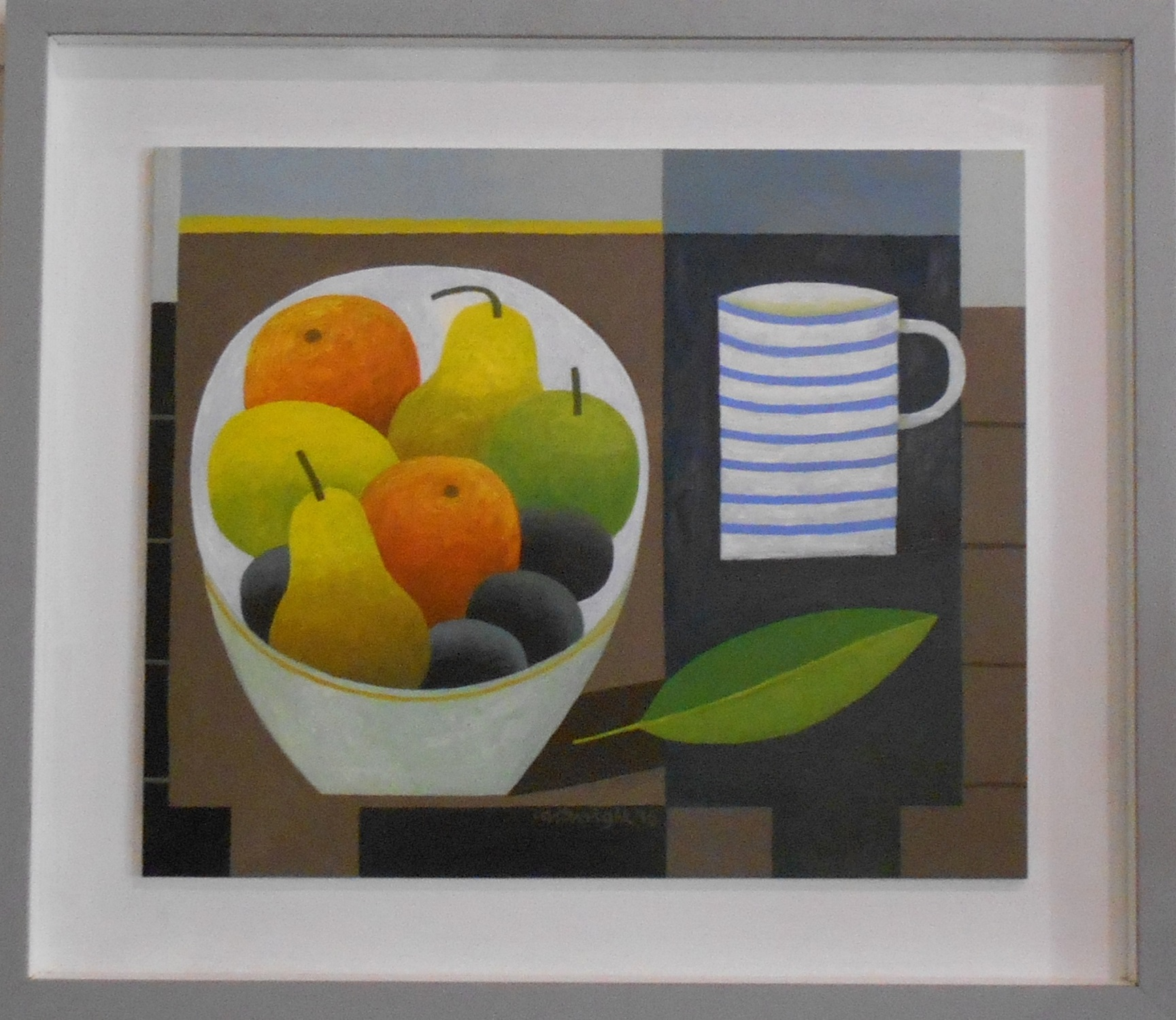Still Life with Fruit and Striped Mug  oil on board  43 x 36 cm  SOLD
