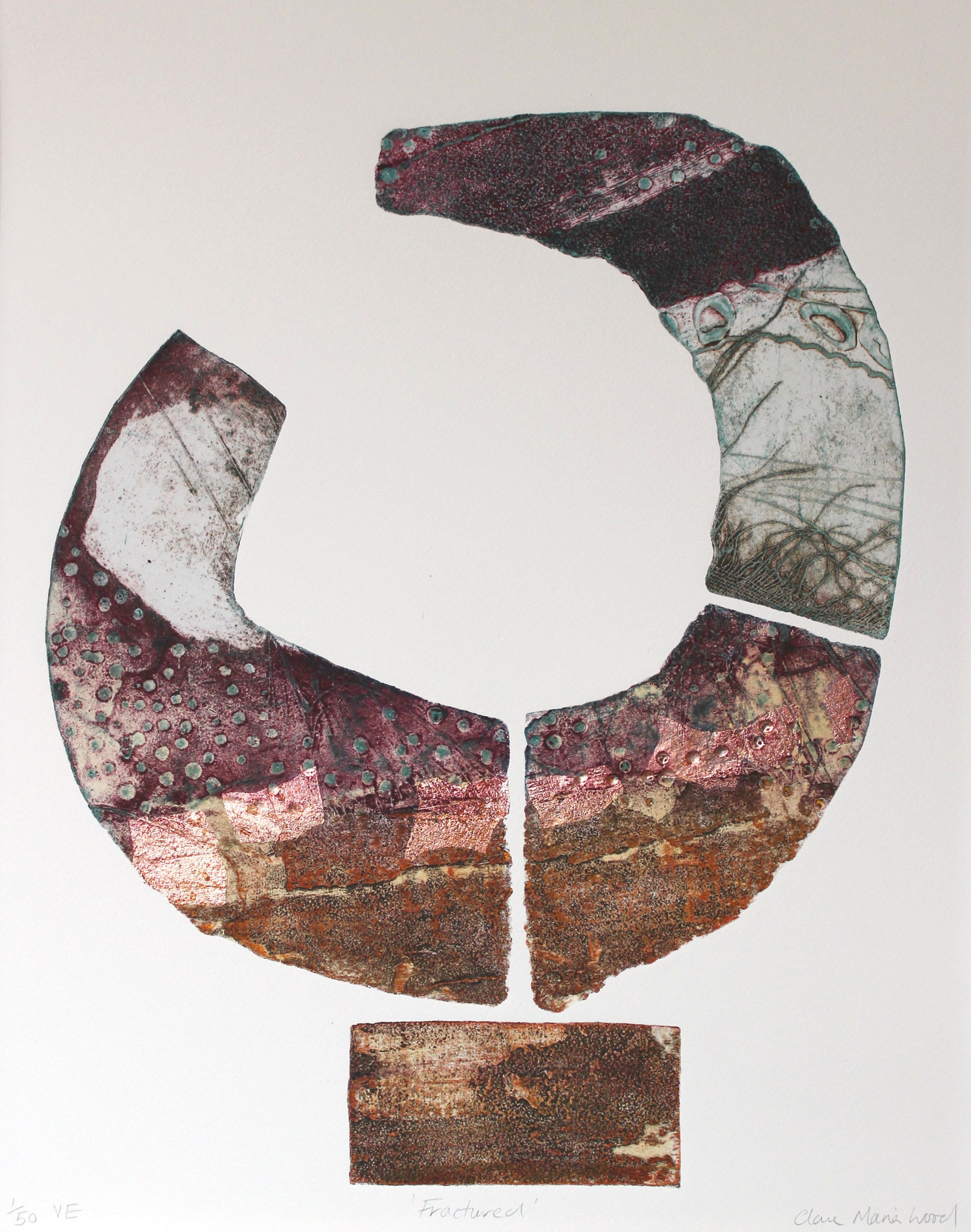 Fractured   collagraph   and copper leaf   48 x 35 cm  £220