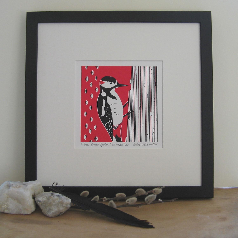 Great Spotted Woodpecker   screenprint   13 x 13 cm  £20 (unframed)
