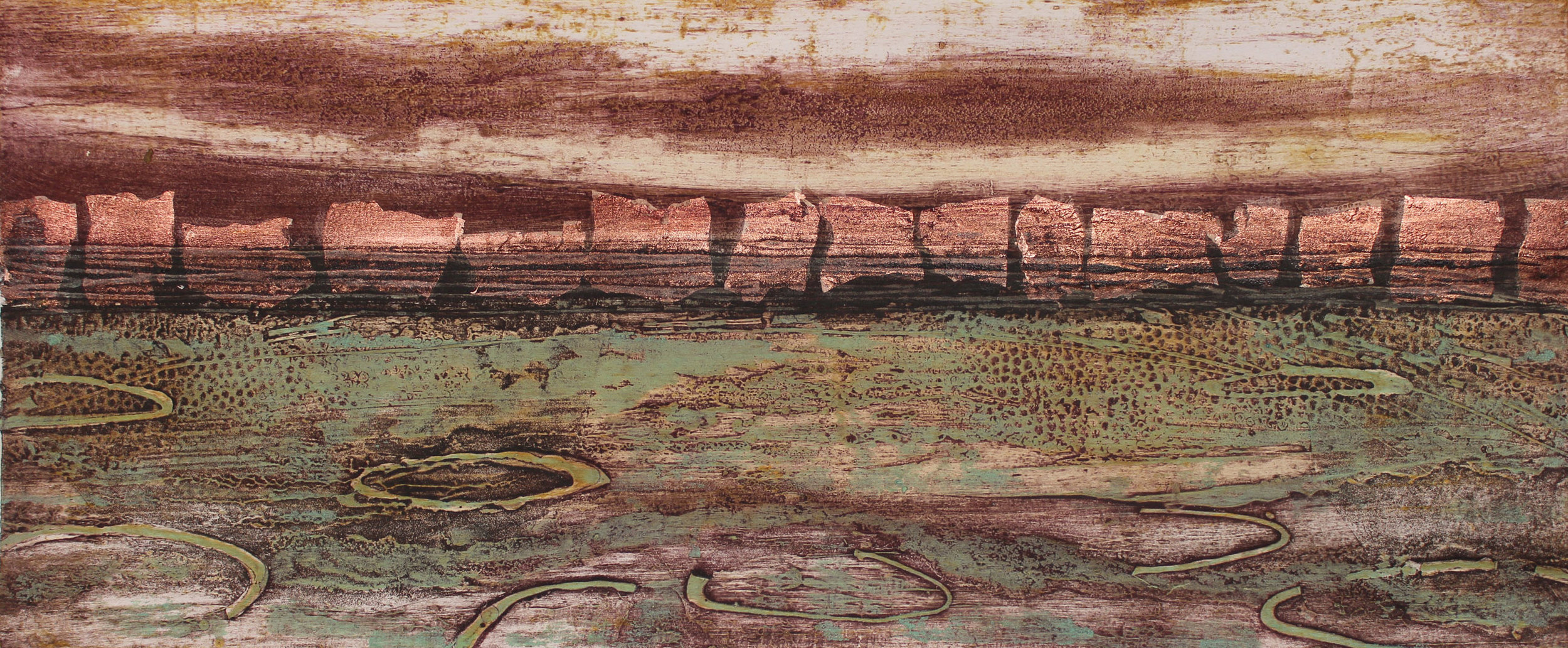 Evening Light   collagraph  and copper leaf    22 x 52 cm    £220