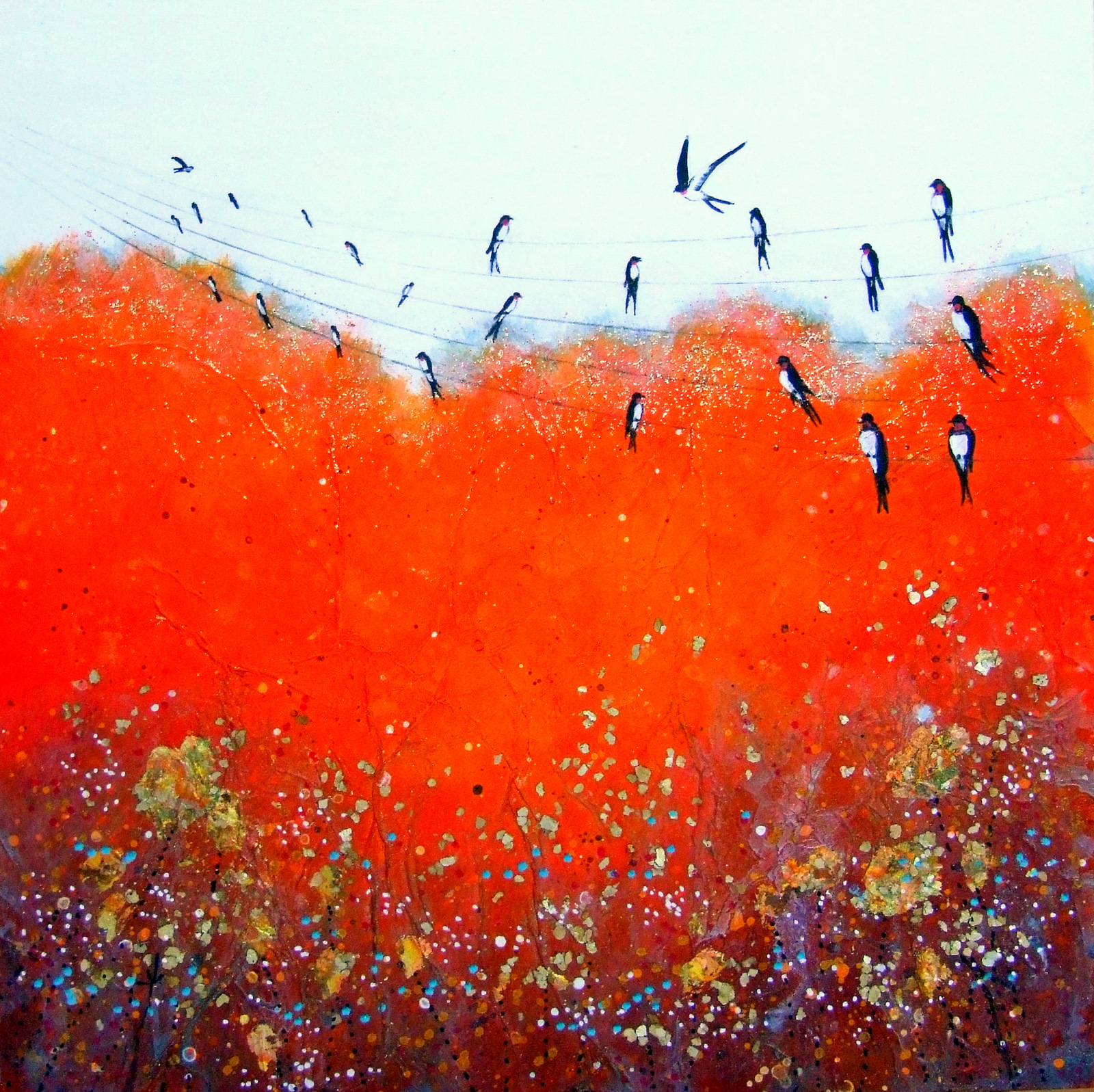 Song of the Swallows IV  acrylic & mixed media  SOLD