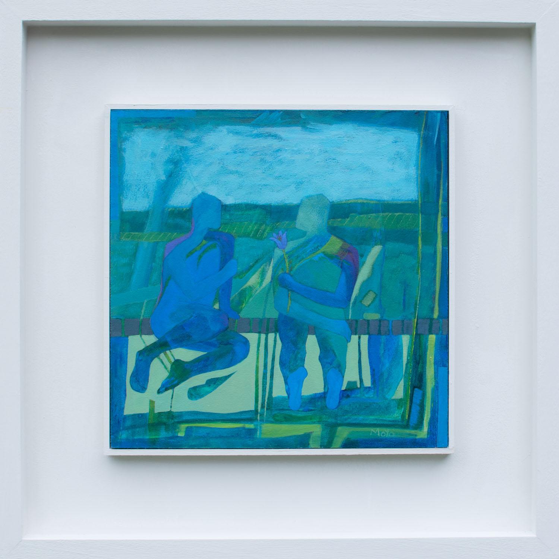In the Window  acrylic on board  49 x 49 cm framed  £495