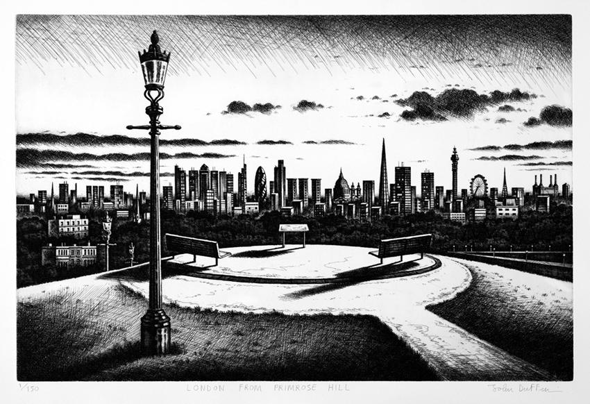 John Duffin   London from Primrose Hill  etching
