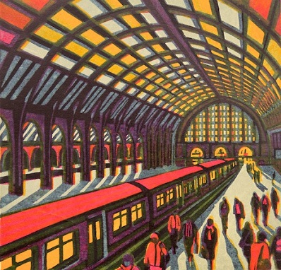 Gail Brodholt  New Day Dawning  linocut
