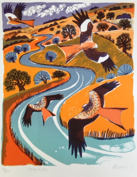 Carry Akroyd   Four Kites  Lithograph