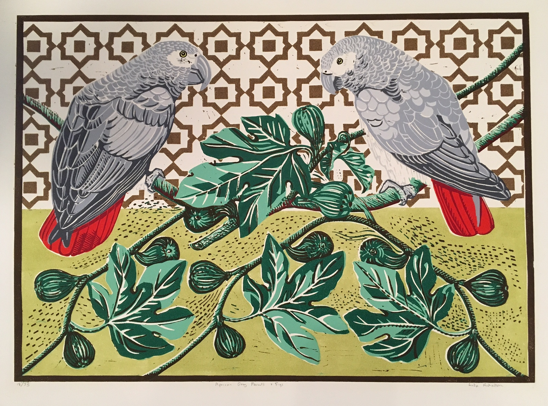 African Grey Parrots and Figs   linocut   56 x 76cm  £295 (unframed)