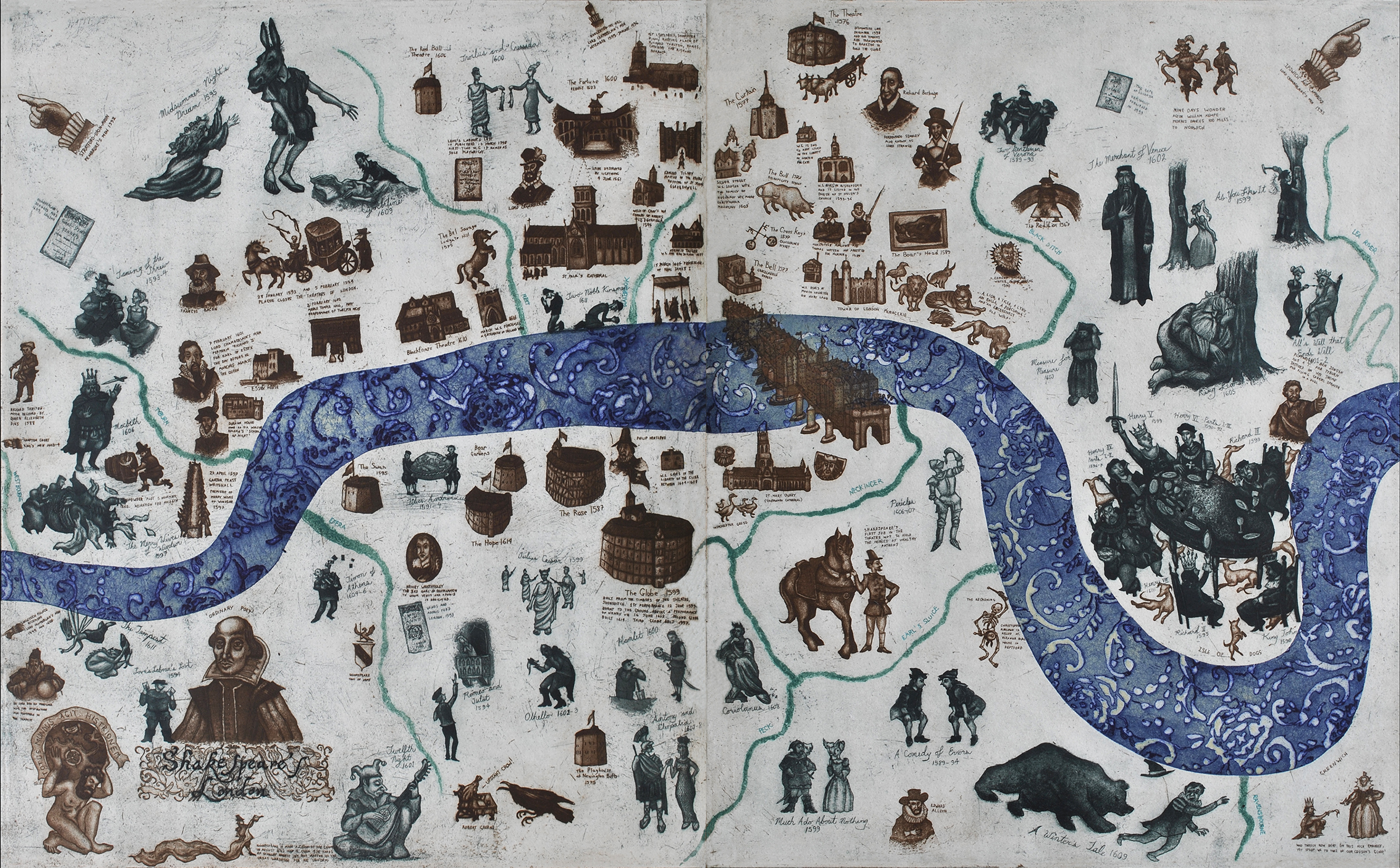 A Map of Shakespeare's London  58 x 100 cm   etching   £940 (framed)