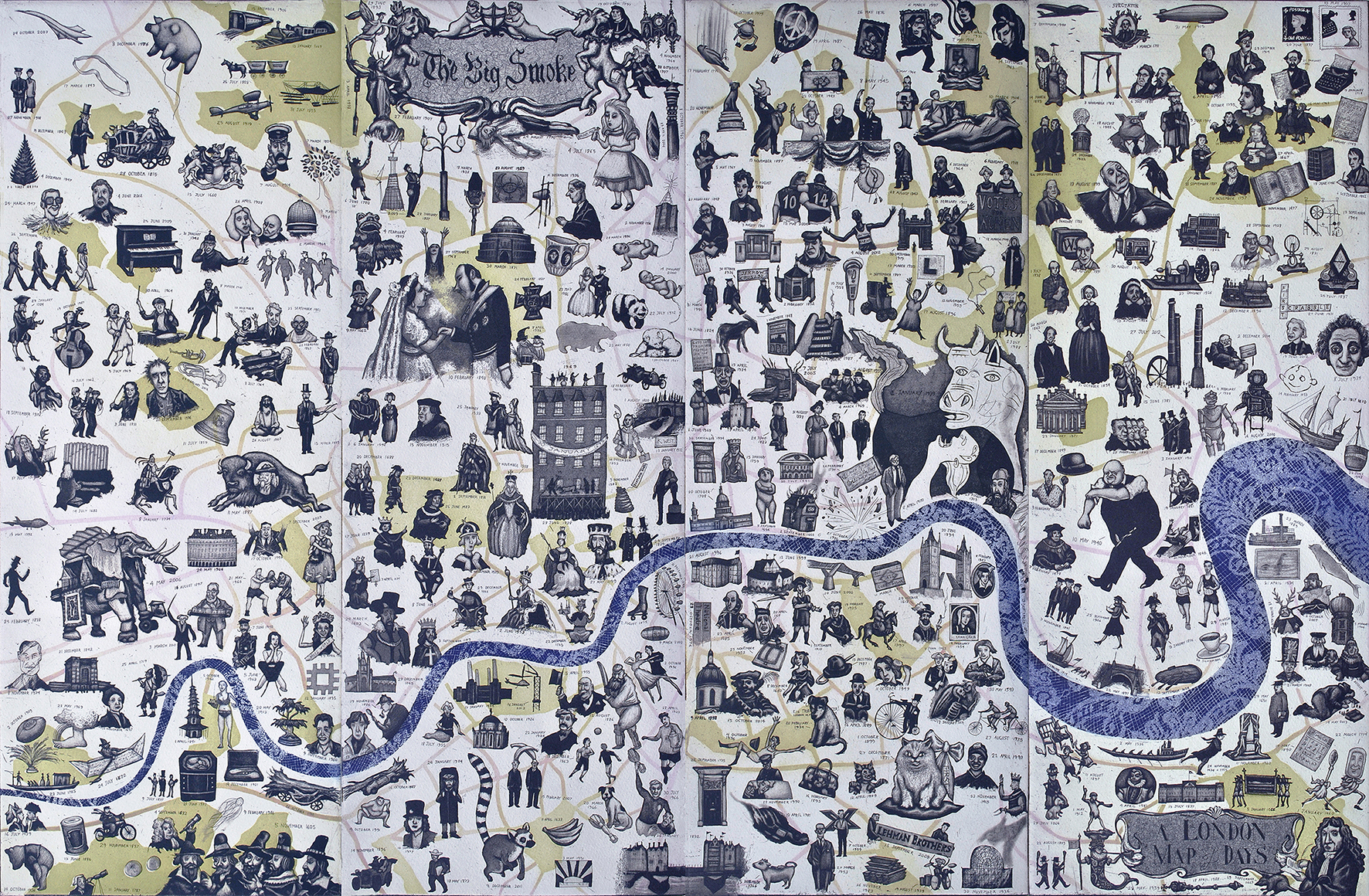 A London Map of Days  66 x 100 cm   etching   SOLD OUT