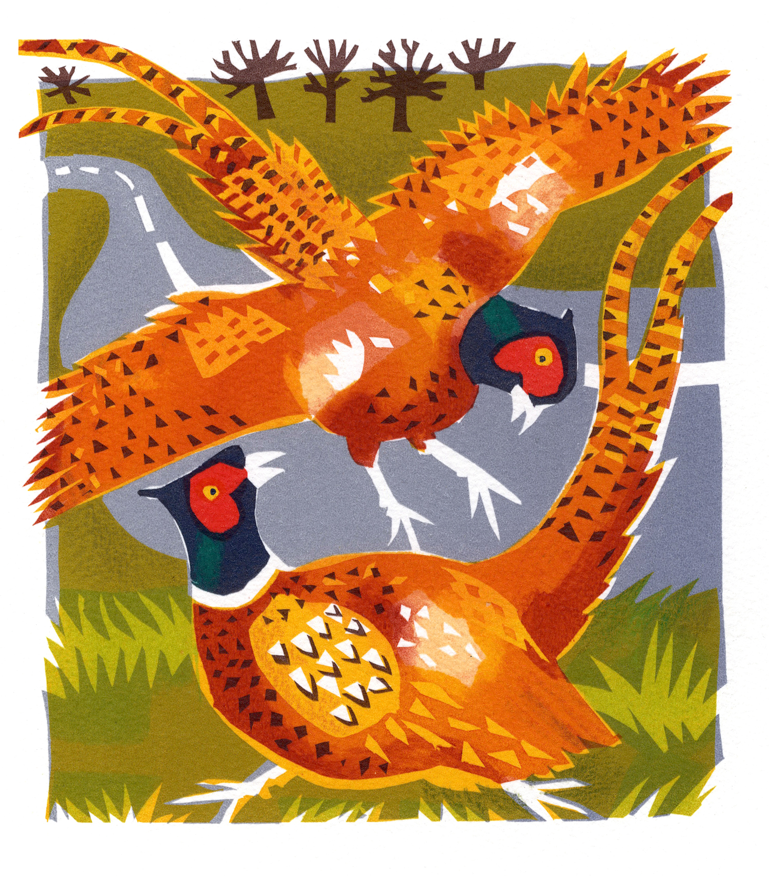Pheasants   serigraph   30 x 30 cm  £280 framed, £210 unframed