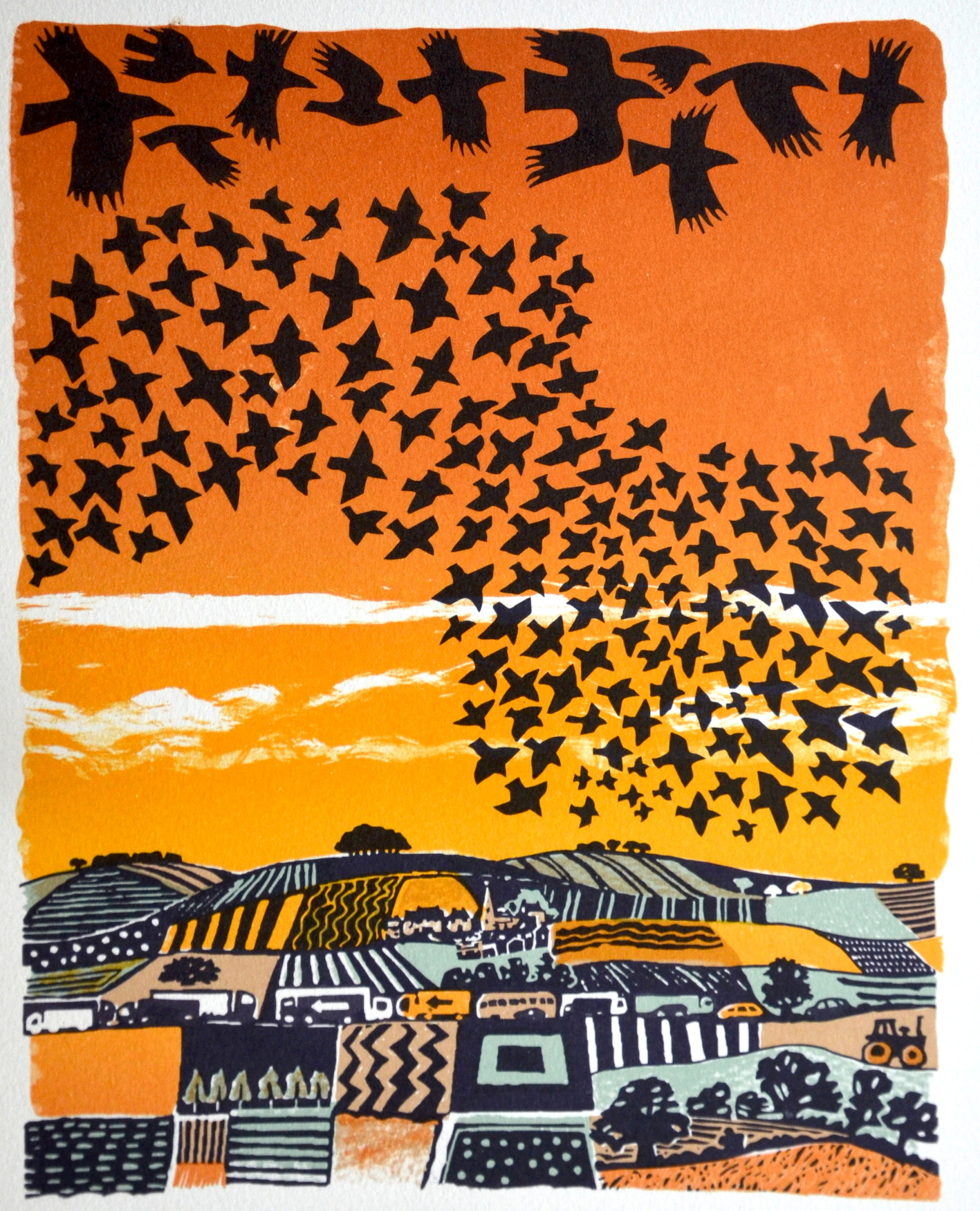 Going to Roost   lithograph   edition of 50  30 x 25 cm  £185 framed, £95 unframed