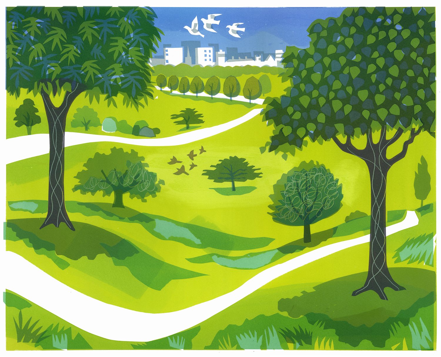 Green Space   serigraph   edition of 9  45 x 55 cm  £360 framed, £275 unframed