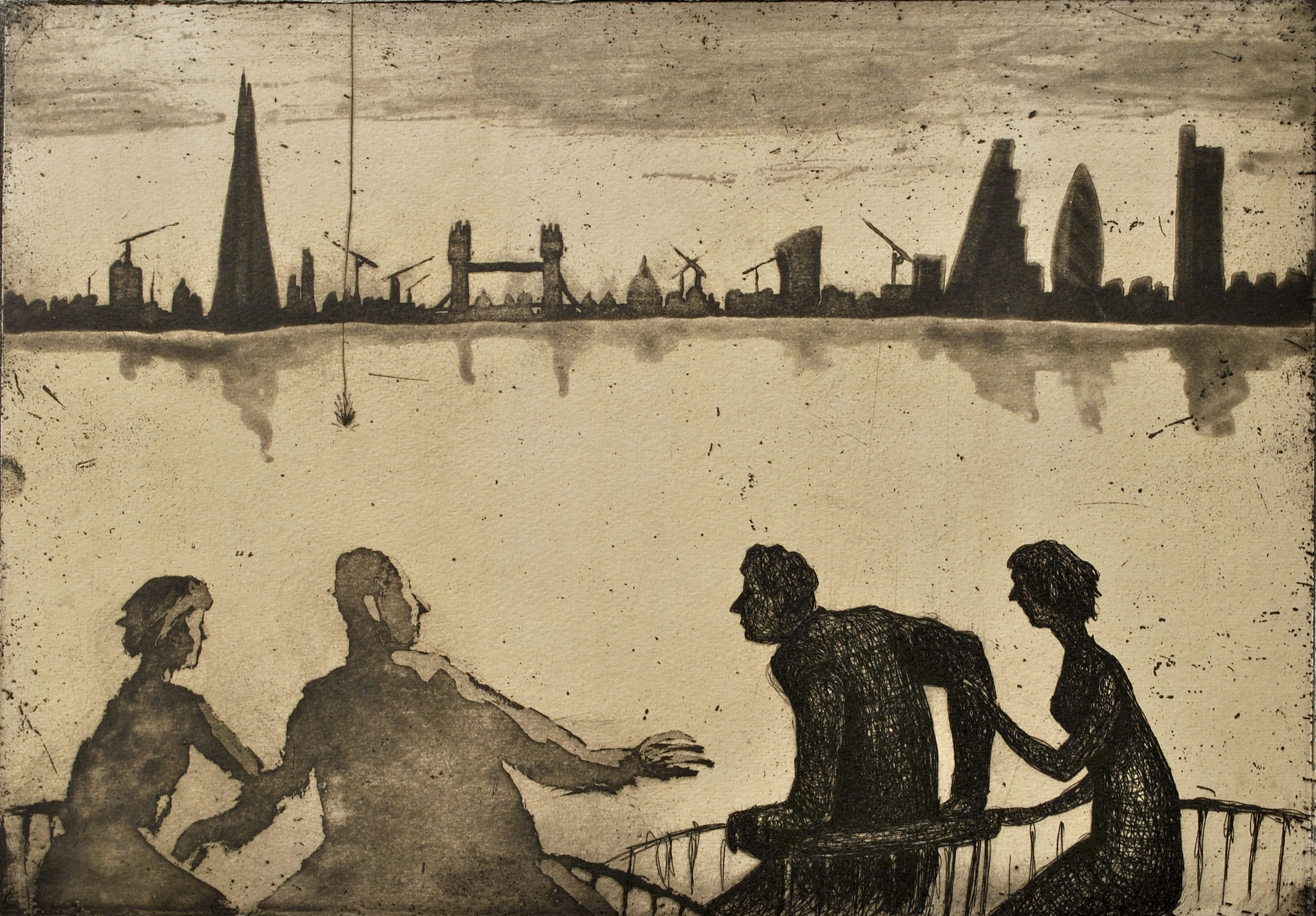 Urban Myths II   etching  on tea-stained gampi paper  £280 (unframed)  £350 (framed)