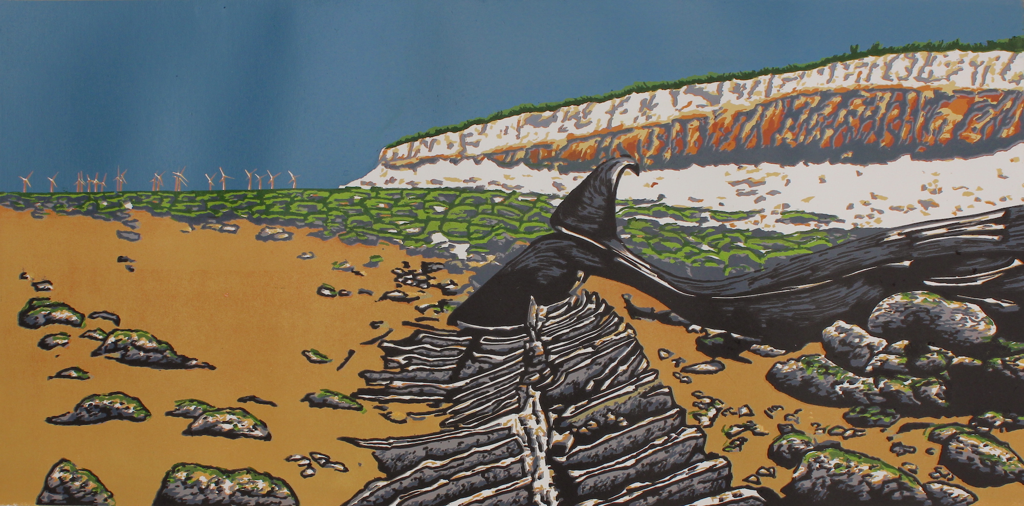 The Stranding  reduction  linocut   29 x 58.5cm image size  £24 unframed