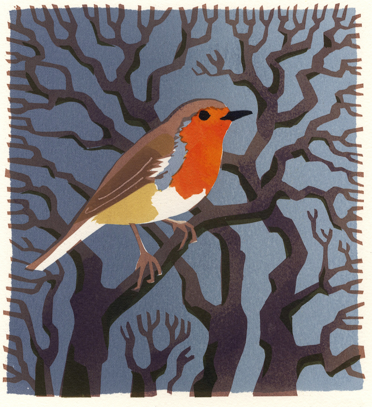 Robin   serigraph   edition of 8  30 x 30 cm  £280 framed, £210 unframed