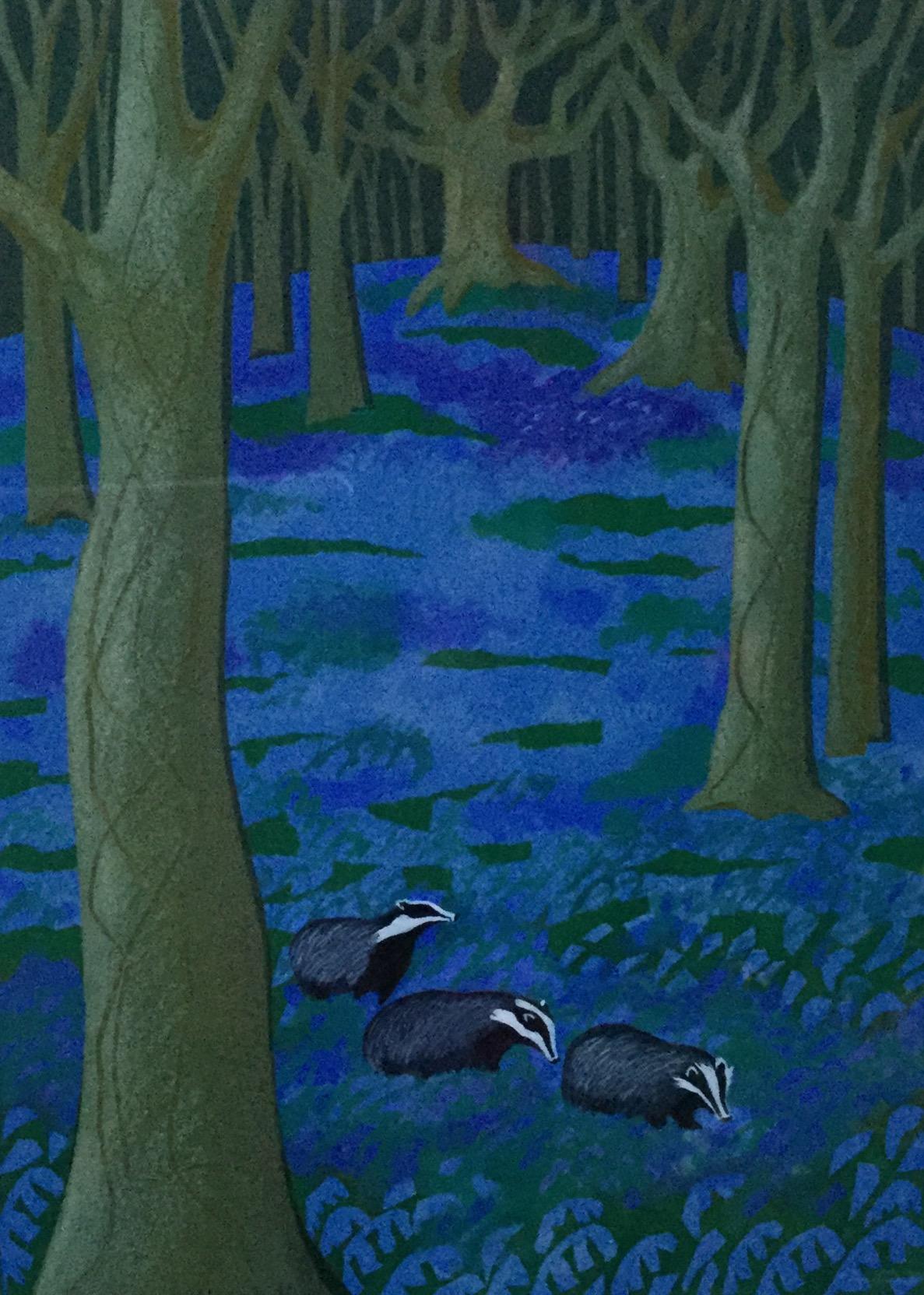 Badgers  mixed media  42 x 50 cm  £360