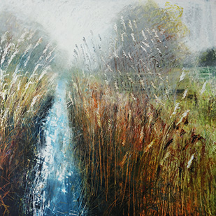 "Fen Mist  oil pastel and pencil  20"" x 20""  SOLD"
