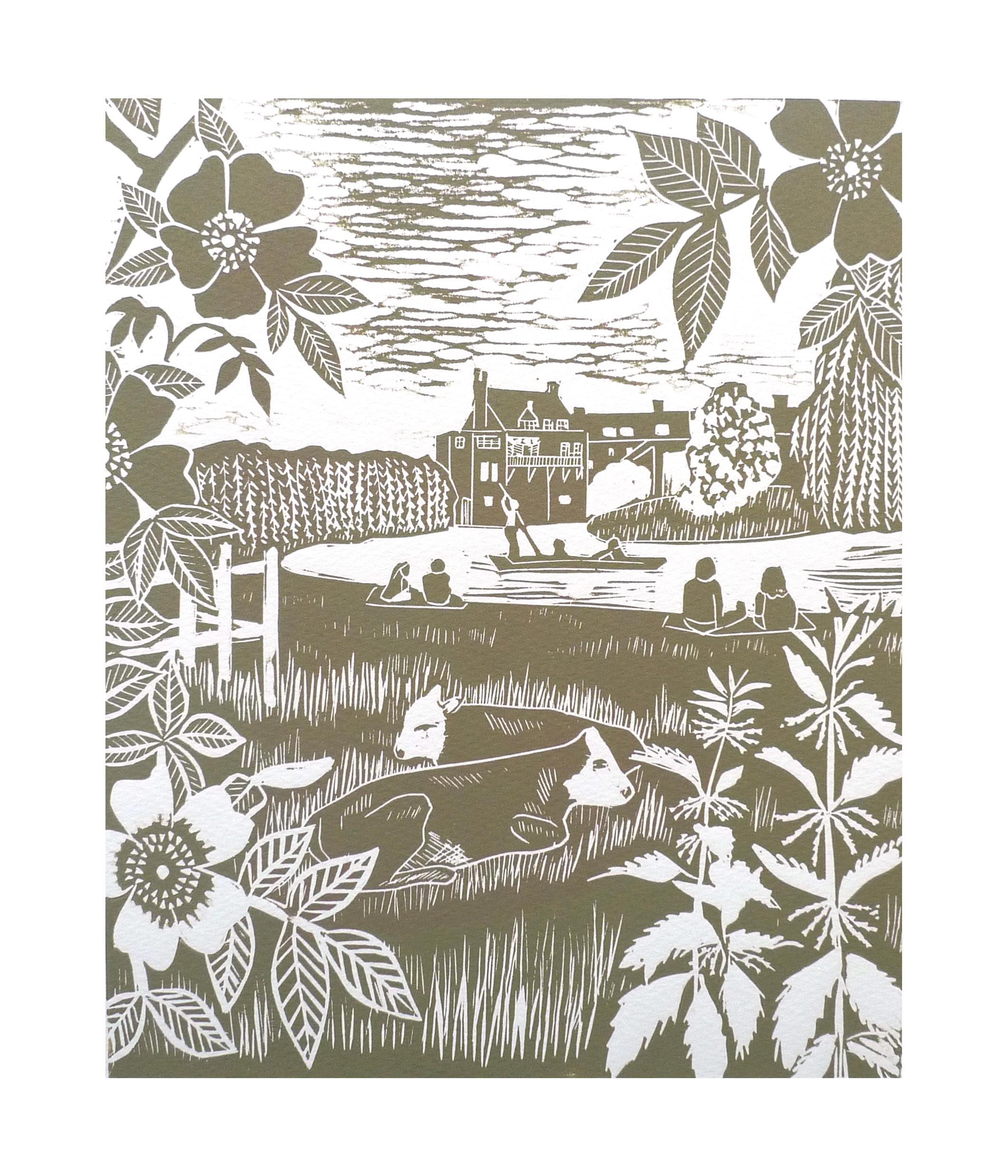 Picnic at the Mill pond  Linocut   21 cm x 25.5 cm   £45
