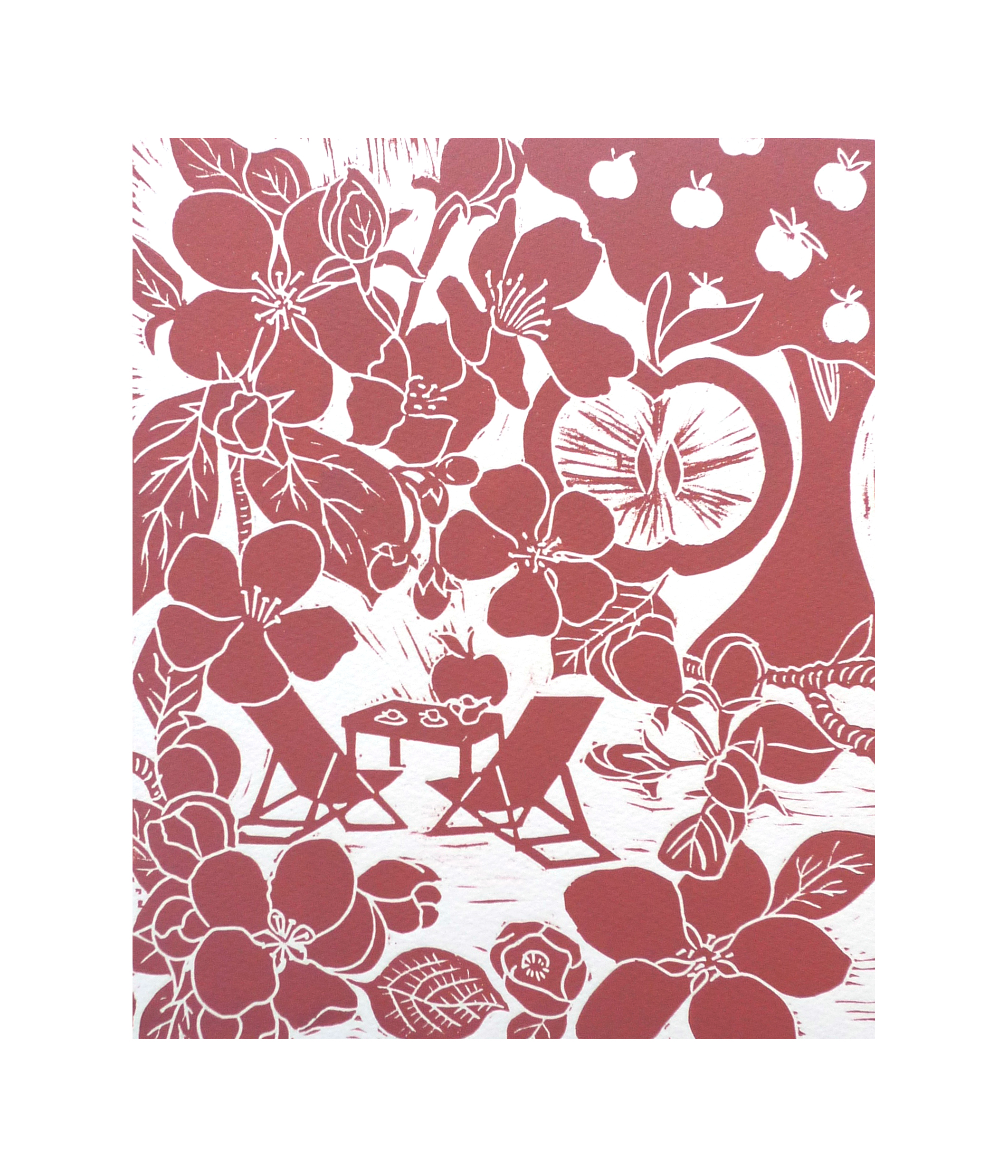 The Orchard at Granchester  Linocut   21 cm x 25.5 cm   £45
