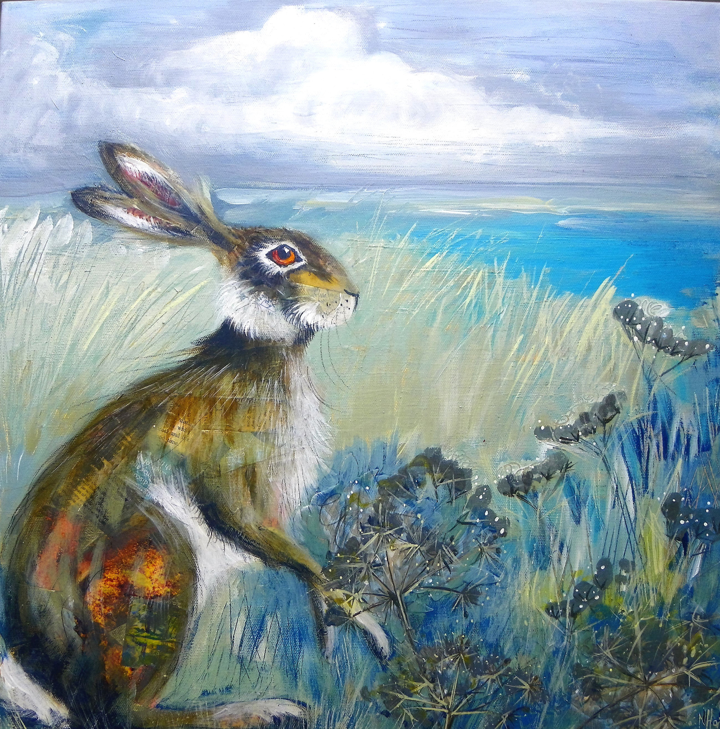 Holme Hare  mixed media  55.5 x 55.5cm  sold