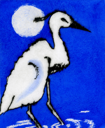 Evening of the Egret   drypoint  and watercolour  15 x 12 cm  £225 unframed