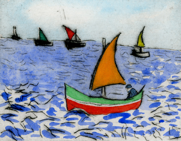 Fishermen   drypoint  and watercolour  8.5 x 10.5 cm  £199 unframed