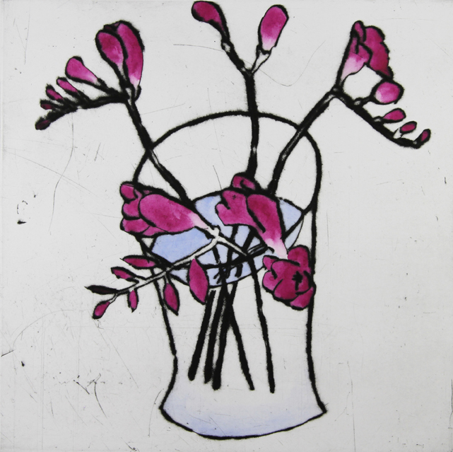 Freesias   drypoint  and watercolour  35.5 x 35.5 cm  £395 unframed