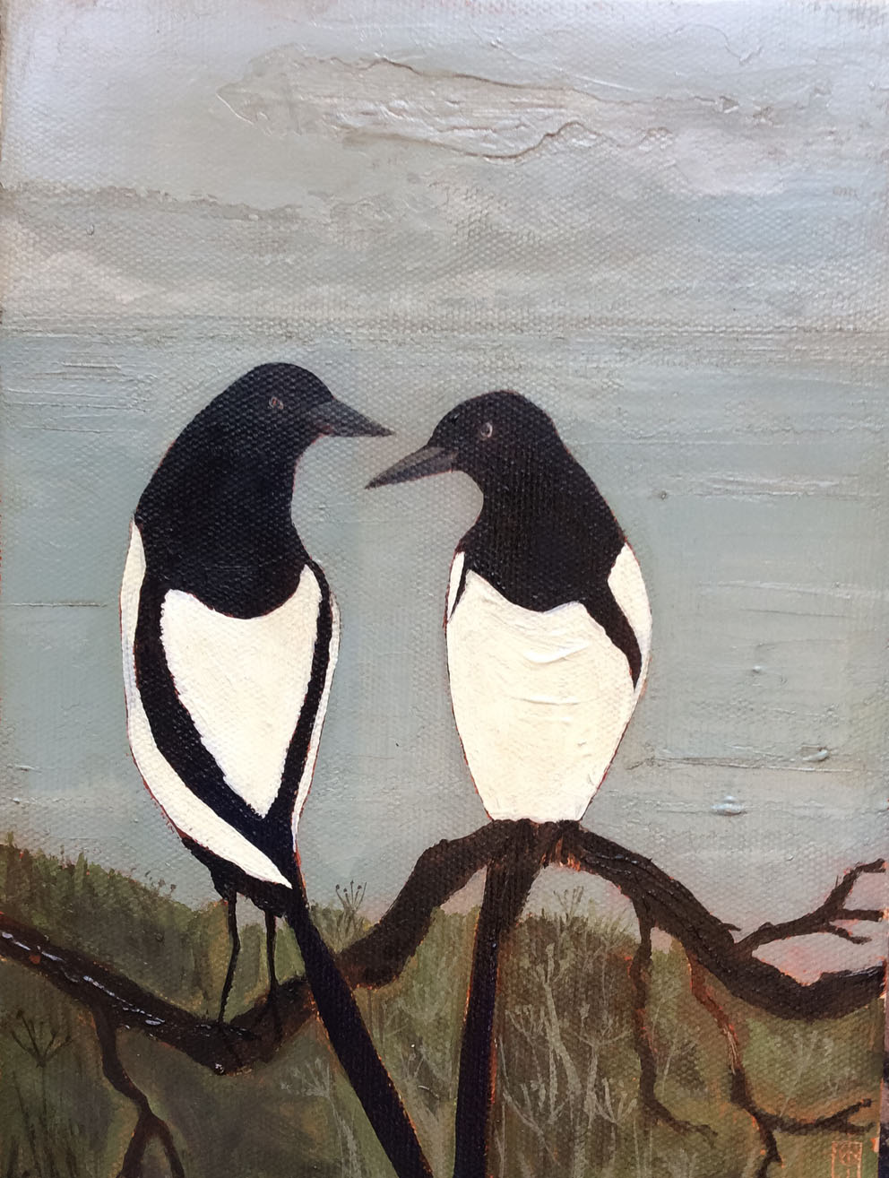 Two for Joy  mixed media on canvas  h-28, w-22  £350 framed SOLD