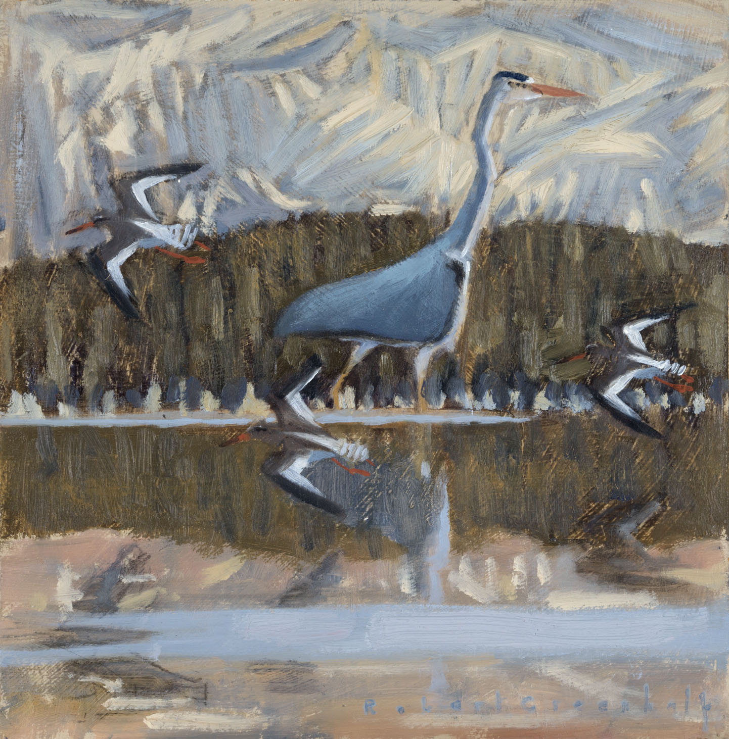 Heron and Redshanks  oil  22cmx22cm  £350