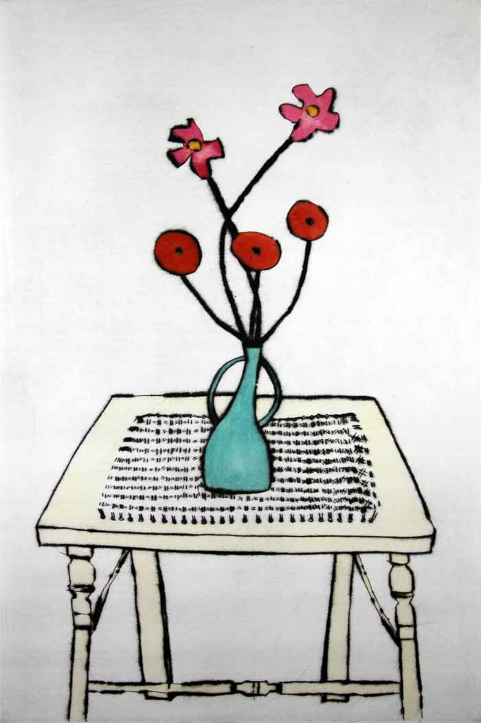 Cane Table   drypoint  and watercolour  60.5 x 40 cm  £469 unframed