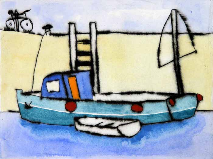 Cycle to the Quay   drypoint  and watercolour  15 x 20 cm  £225 unframed