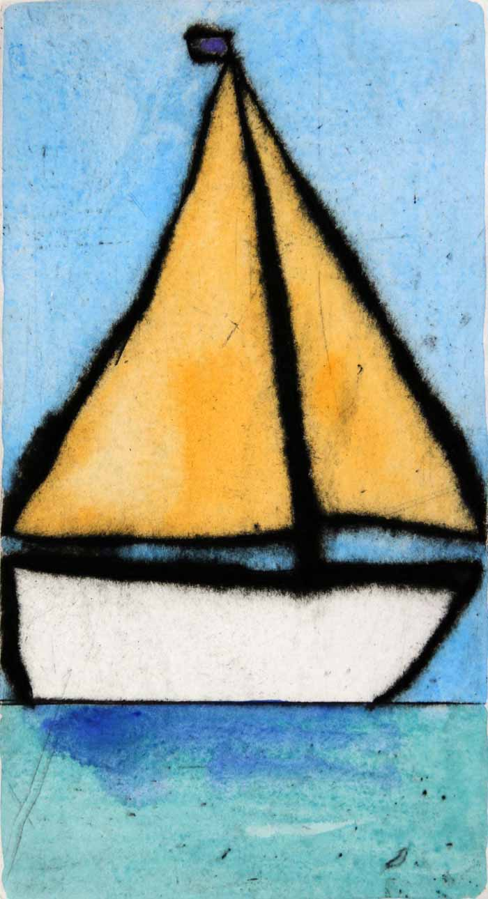 Dinghy   drypoint  and watercolour  21.5 x 11.5 cm  £199 unframed