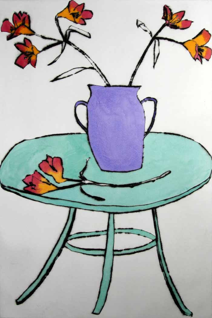 French Table   drypoint  and watercolour  61 x 40 cm  £469 unframed