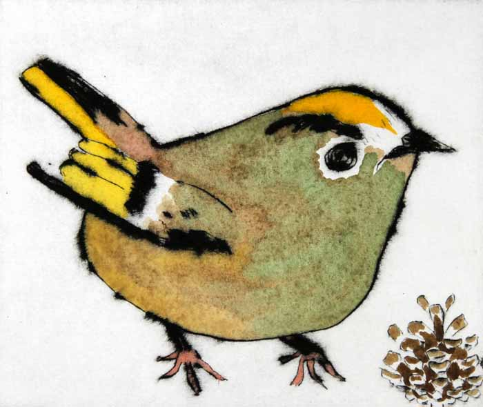 Goldcrest   drypoint  and watercolour  .  SOLD OUT