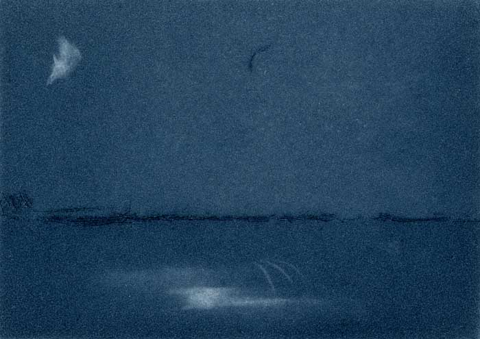 Moonlight seascape   drypoint  and watercolour  5.5 x 7.5 cm  £1120 unframed