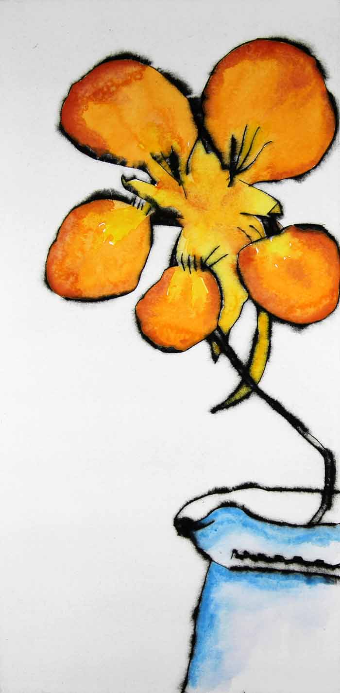 Nasturtium   drypoint  and watercolour  40 x 20 cm  £230 unframed
