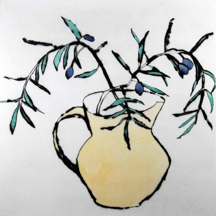 Olives   drypoint  and watercolour  SOLD OUT