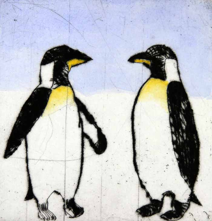 Penguins   drypoint  and watercolour  15 x 14.5 cm  £225
